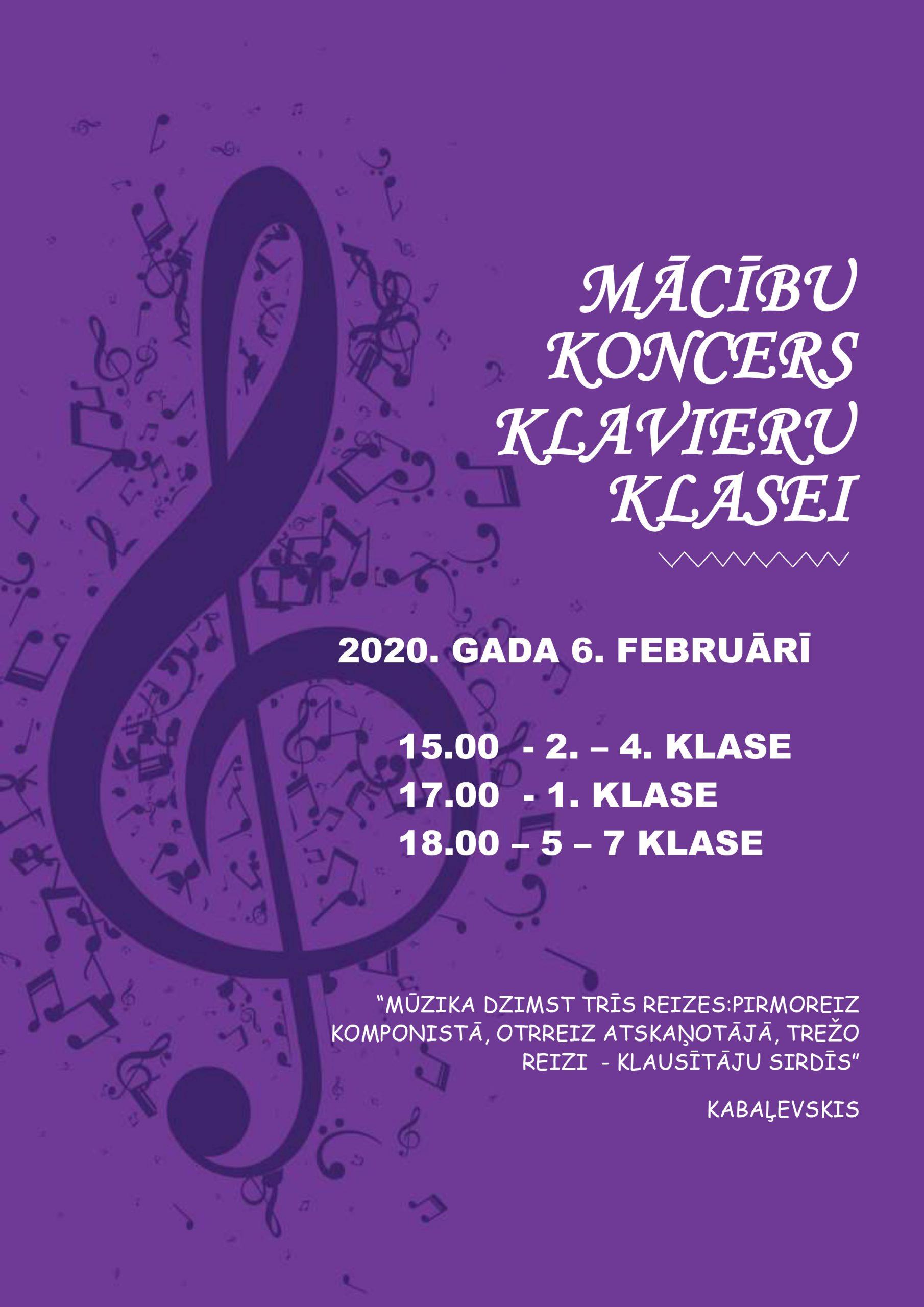 Mācību koncerts klavieru klasei 6. februārī